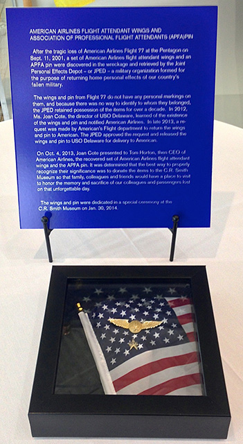 APFA Pin and AA Wings recovered at the Pentagon Wreckage